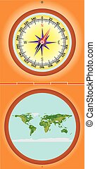 Compass with a map