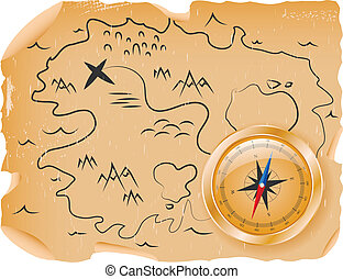 Compass with a map - Ancient map of treasures with a compass