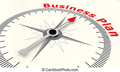 Compass with arrow pointing to the word Business Plan