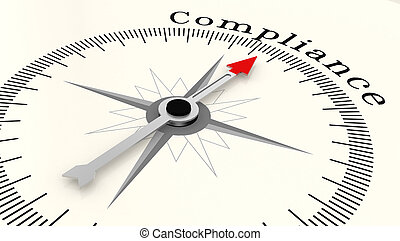 Compass with arrow pointing to the word compliance