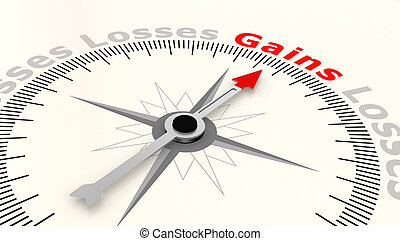 Compass with arrow pointing to the word gains