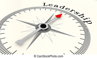 Compass with arrow pointing to the word Leadership