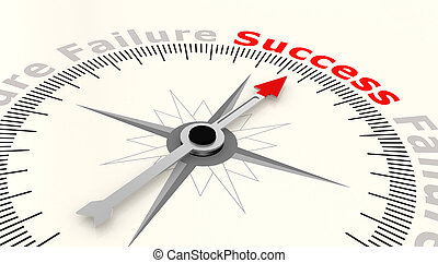 Compass with arrow pointing to the word success