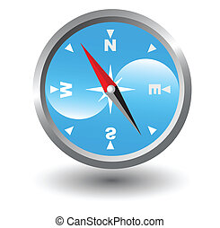Compass with blue background inside