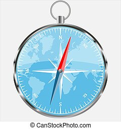 Compass with blue world background. Realistic vector illustration. Modern navigation template