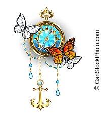 Compass with butterflies