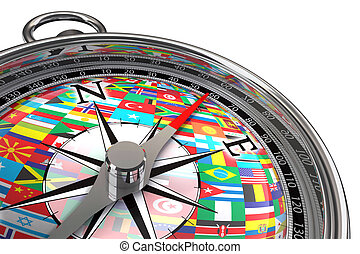 compass with flags travel metaphor