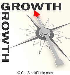 Compass with growth word isolated