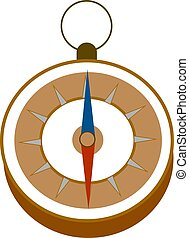 Compass with handle, illustration, vector on white background.