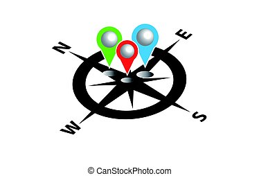 Compass with map pin. Infographic. Vector illustration.