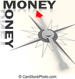 Compass with money word isolated