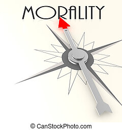 Compass with morality word image with hi-res rendered artwork that could be used for any graphic design.