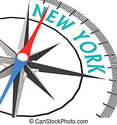 Compass with New York word