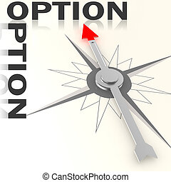 Compass with option word isolated