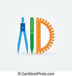 Compass with pen and protractor flat icon