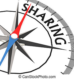 Compass with sharing word