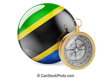 Compass with Tanzanian flag. Travel and tourism in Tanzania concept. 3D rendering isolated on white background