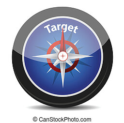 """compass with text """"target"""""""