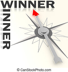 Compass with winner word isolated
