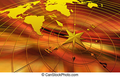 Grunge world map background with rose compass stock illustration compass with world map gumiabroncs Gallery