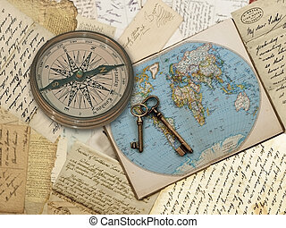 Compass, World Map, Concept