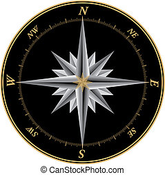 Compass3 - Compass illustration with black background and...