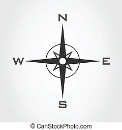 Compass3 - Compass and parts of the world on a white...