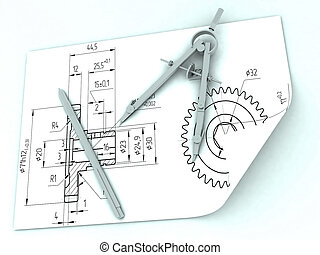 Compasses drawing and a pencil