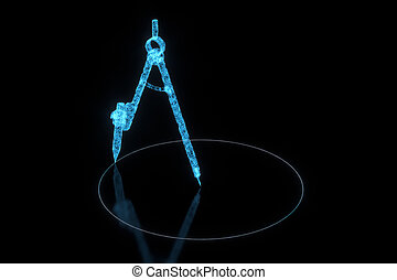 Compasses made up of lines with black background, 3d rendering.