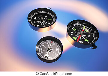 Compasses on Blue Background