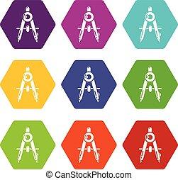 Compasses school icons set 9 vector