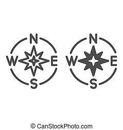 compassing, graphics., 項目, 固体, コンパス, チームワーク, バックグラウンド。, 概念, シンボル, oldstyle, スタイル, モビール, 方向, 線, 発見者, ベクトル, 印, pictogram, 網, アウトライン, design., 星, icon., 白