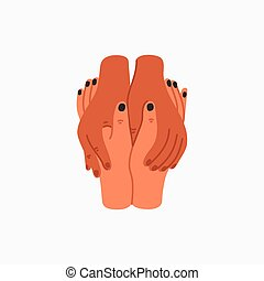 Compassion. Empathy and Compassion icon - holding hands. Helping hand or psychological care. Vector illustration in flat cartoon style on white background.
