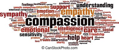 Compassion word cloud concept. Vector illustration