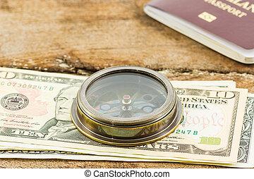 compasso, dinheiro., passaporte