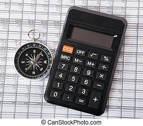 compasso, e, calculadora