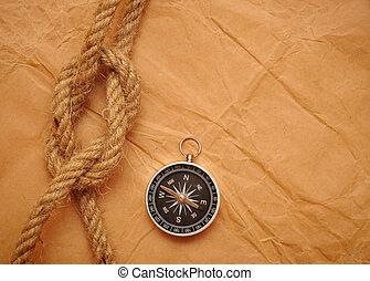 compasso, e, corda, ligado, antigas, papel