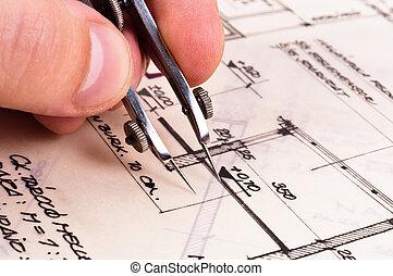 compasso, em, mão, com, construção, planos