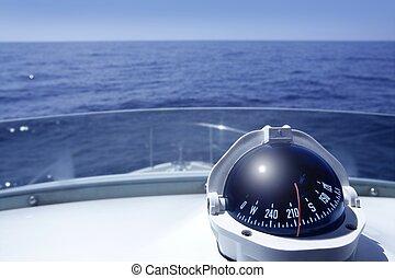 compasso, ligado, um, iate, bote, torre