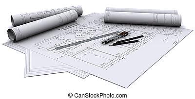 compasso, régua, e, lápis, ligado, desenhos arquitetônicos