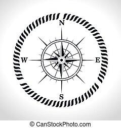 compasso, símbolo, retro, ícone