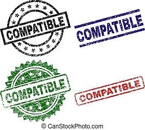 compatible, timbre, cachets, textured, gratté
