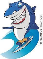 compatissant, requin, surfer