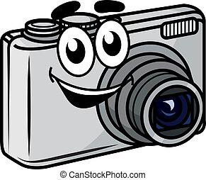compatto, carino, poco, macchina fotografica, cartone animato