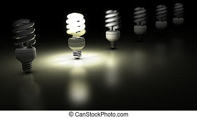 compatto, concetto, idea, uno, lampada, lampade, ...