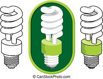 compatto, luce, spirale, vettore, bulbo, fluorescente
