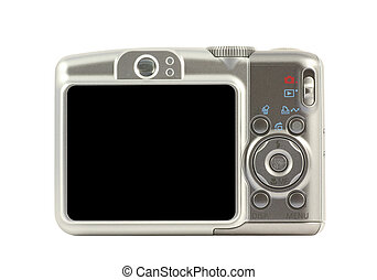 compatto, macchina fotografica digitale, lato, indietro