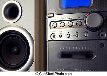 compatto, mini, componente stereo, sistema, audio