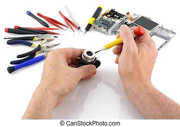 compatto, riparazione, lente macchina fotografica