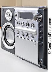 compatto, stereo, vecchio, sistema